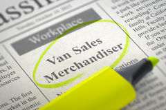 Van Sales Merchandiser Job Vacancy 3d Fotografie Stock Libere da Diritti