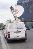 Van with satellite dish Stock Photography