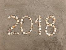2018 van shells op het strand Royalty-vrije Stock Afbeeldingen