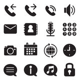Van silhouet mobiele telefoon & smartphone geplaatste toepassingspictogrammen Stock Fotografie