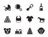 Van silhouetbaby en kinderen pictogrammen Stock Foto's