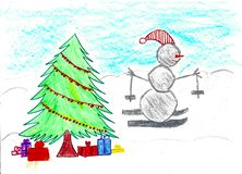 Van sneeuwman het ski?en en Kerstmis boom met giften, kindtekening vector illustratie