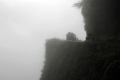 Van sur la route de la mort, Bolivie photographie stock