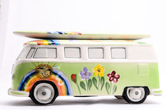 Van with a surf board Stock Photography
