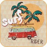 Van Surf Illustration, gráficos de la camiseta Foto de archivo libre de regalías