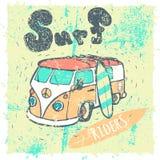 Van Surf Illustration, gráficos de la camiseta, vectores Fotografía de archivo libre de regalías