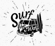 Van surf retro black and white illustration Royalty Free Stock Image