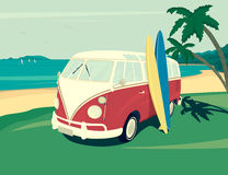 Van surf retro illustration Royalty Free Stock Images