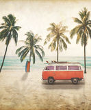 Van with surfboard on roof at tropical beach. Vintage postcard of van with surfboard on roof at tropical beach concept of beach holiday in summer royalty free stock image