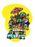 Van with surfboard on top of the roof on yellow background royalty free illustration