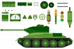 Van tankreserveonderdelen en delen tank Vector Stock Afbeeldingen