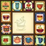 Van theekoppen en potten kaderhand getrokken ontwerp. Royalty-vrije Stock Foto