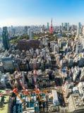 Van Tokyo de toren, van Japan - van Tokyo stadshorizon en cityscape royalty-vrije stock foto