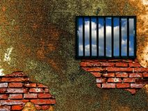 Van tralies voorzien gevangenisvenster stock illustratie