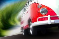 Van travel concept.Speed on the road stock photos