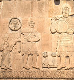 Van, Turkey - September 30, 2013:  David`s fight with Goliath carving detail from Cathedral of the Holy Cross Akdamar Kilisesi o Stock Photography