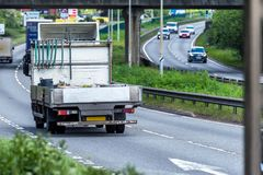Van on uk motorway in fast motion.  stock photography