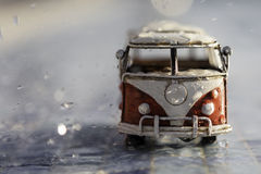 Van under the rain Royalty Free Stock Photo