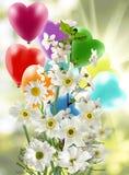 Van vakantieballen en bloemen close-up Royalty-vrije Stock Foto