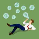 Van van de bedrijfs dollarbel vlakke vector isometrische 3d geldfinanciën Stock Foto