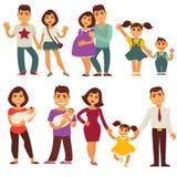 Van van de familiemoeder, vader en kinderen vector vlakke geplaatste pictogrammen Stock Afbeelding