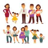 Van van de familiemoeder, vader en kinderen vector vlakke geplaatste pictogrammen Royalty-vrije Stock Afbeelding