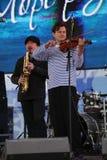 Van van prestatieskunstenaars, zangers en musici de vocaal-instrumentale band van de ensemble shoobedoobe jazz Stock Afbeeldingen