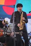 Van van prestatieskunstenaars, zangers en musici de vocaal-instrumentale band van de ensemble shoobedoobe jazz Stock Foto's