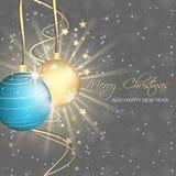 Van van van van Kerstmis achtergrond, snuisterijen, sterren, swirly lijnen en sneeuwvlokken patroon Royalty-vrije Stock Foto