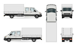 Van vector illustration. Cargo van vector illustration. Isolated commercial vehicle on white. All layers and groups well organized for easy editing and recolor vector illustration