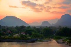 Van Vieng Sunset Image stock