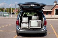 Van with vintage TV sets Royalty Free Stock Photo