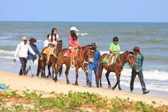 Am van vrienden strand Petchaburi Thailand Stock Foto