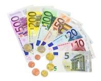 Van waaierbankbiljetten en muntstukken geïsoleerde euro - Stock Foto's