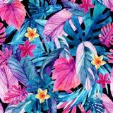 Van waterverf exotische bladeren en bloemen achtergrond royalty-vrije illustratie