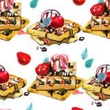 Van waterverfdesserts en bessen naadloos patroon Achtergrond met Belgische wafel Royalty-vrije Stock Afbeeldingen