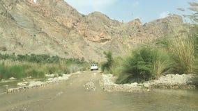 Van weg in Wadi Al Albaeen in Oman stock footage