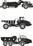Van-wegvrachtwagens Zware mijnbouwvrachtwagens Vector Stock Foto