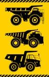 Van-wegvrachtwagens Zware mijnbouwvrachtwagens Vector illustratie Stock Foto