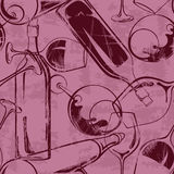 Van wijnglazen en flessen naadloos patroon Royalty-vrije Stock Afbeelding