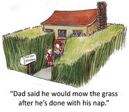 Van Winkle nap. Dad said he would mow the grass when he's finished with his nap Royalty Free Stock Images