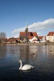 Van Wroclaw (Breslau) de mening van de rivier Royalty-vrije Stock Afbeelding