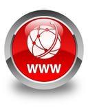 Van WWW (globaal netwerkpictogram) de glanzende rode ronde knoop Stock Fotografie