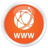 Van WWW (globaal netwerkpictogram) de premie oranje ronde knoop Royalty-vrije Stock Afbeelding
