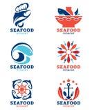 Van zeevruchtenrestaurant en vissen embleem vector vastgesteld ontwerp Royalty-vrije Stock Fotografie