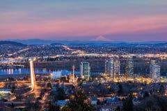 Van Zuid- Portland Waterkant bij Zonsondergang stock fotografie