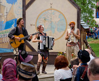 Vana Mazi. Three musicians from the band Vana Mazi perform for the audience during the Bristol Renaissance Faire Royalty Free Stock Image