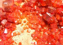 Vanadinita. Vanadinite is a mineral belonging to the apatite group of phosphates, with the chemical formula Pb5VO43Cl. It is one of the main industrial ores of Royalty Free Stock Photography