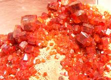 Vanadinita. Vanadinite is a mineral belonging to the apatite group of phosphates, with the chemical formula Pb5VO43Cl. It is one of the main industrial ores of Stock Photography