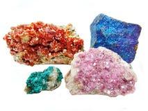 Vanadinite cobaltocalcite chalcopyrithe dioptase geologische crys Stockbild